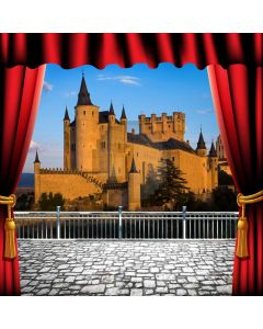 Curtain Castle Water Sky Computer Printed Photography Backdrop HXB-060