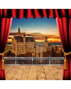 Curtain Castle Balcony Sunset Computer Printed Photography Backdrop HXB-061