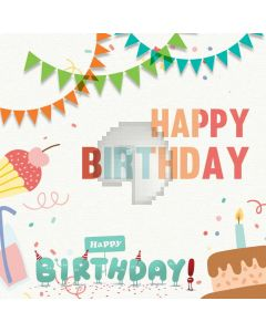 Happy Birthday Ribbon Candle Cake Computer Printed Photography Backdrop HXB-074