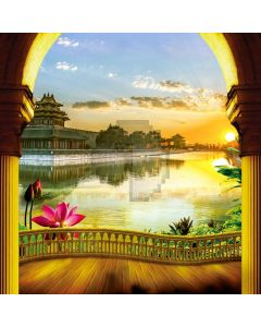 Arch Balcony Lotus River Computer Printed Photography Backdrop HXB-091