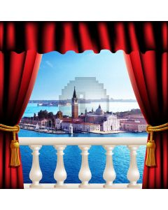Curtain Sea Building Balcony Computer Printed Photography Backdrop HXB-098