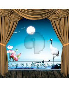 Curtain Flower Moon Sea Red-Crowned Crane Computer Printed Photography Backdrop HXB-099