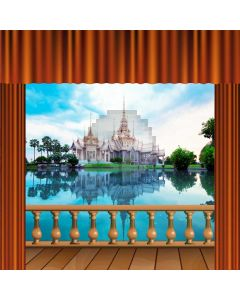 Curtain Water Tree Sky Castle Computer Printed Photography Backdrop HXB-209