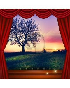 Curtain Grass Tree Sunset Computer Printed Photography Backdrop HXB-210