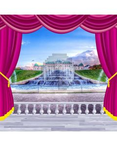 Curtain Sky Fountain Plant Computer Printed Photography Backdrop HXB-211