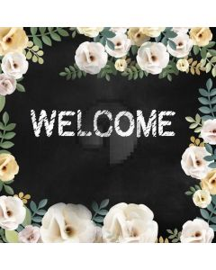 Welcome Flower Grass Black Computer Printed Photography Backdrop HXB-224