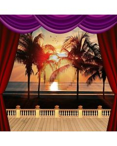 Balcony Curtain Sunset Tree Sea Computer Printed Photography Backdrop HXB-260