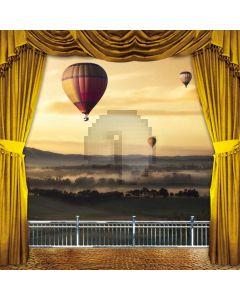 Curtain Balcony Sea Mountain Smoke Hot Air Balloon Computer Printed Photography Backdrop HXB-270