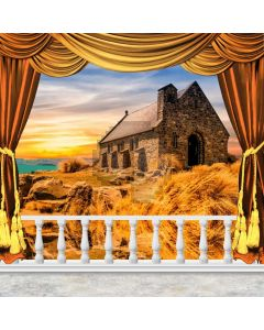 Curtain Sunset House Grass Stone Computer Printed Photography Backdrop HXB-271