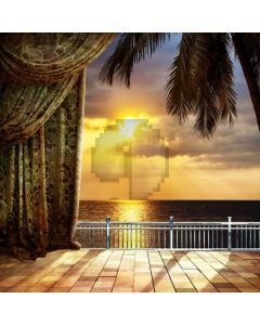 Sunset Curtain Sea Floor Computer Printed Photography Backdrop HXB-297