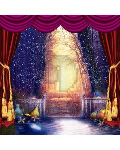 Night Curtain Snow Tree Fallen Leaves Computer Printed Photography Backdrop HXB-298