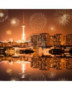 Firework Building Night Sky River Computer Printed Photography Backdrop HXB-742