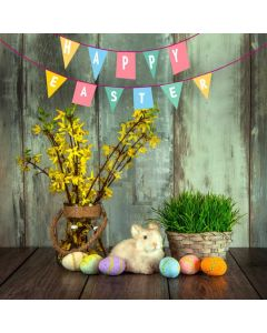 Flower Wood Rabbit Egg Computer Printed Photography Backdrop HXB-870