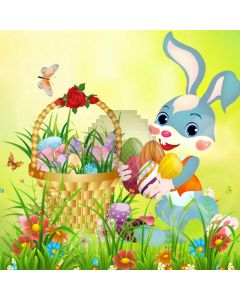 Rabbit Flower Basket Computer Printed Photography Backdrop HXB-946