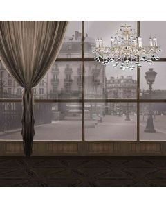 French Window With Chandelier Computer Printed Photography Backdrop HY-CM-3350