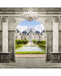 Mansion Beyond The Arch Door Computer Printed Photography Backdrop HY-CM-3637