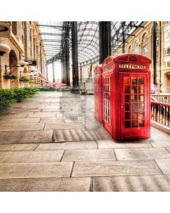 Telephone Booth Down The Street Computer Printed Photography Backdrop HY-CM-3658