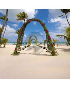 Arch Gates On Beach Computer Printed Photography Backdrop HY-CM-3911