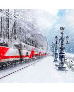 Running Train In Snow Computer Printed Photography Backdrop HY-CM-3989