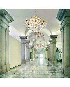 Hall With Chandeliers Computer Printed Photography Backdrop HY-CM-4022