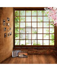 Suitcases Besides The French Window Computer Printed Photography Backdrop HY-CM-4038