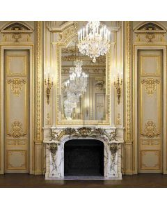 Fireplace Of Royal Room Computer Printed Photography Backdrop HY-CM-4068