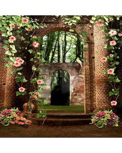 Brick Gate With Flowers Computer Printed Photography Backdrop HY-CM-4238