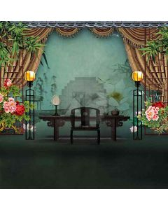 Chinese Study Room Computer Printed Photography Backdrop HY-CM-4579