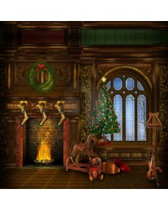 Toy With Fireplace  Computer Printed Photography Backdrop L-814