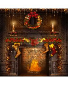 Christmas Wreath Computer Printed Photography Backdrop L-822
