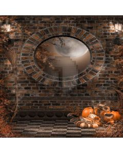 Pumpkins With Moon Computer Printed Photography Backdrop LMG-061