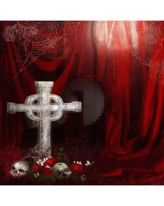 Cross With Skull Computer Printed Photography Backdrop LMG-070