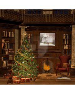 Warm House With Christmas Tree Computer Printed Photography Backdrop LMG-112