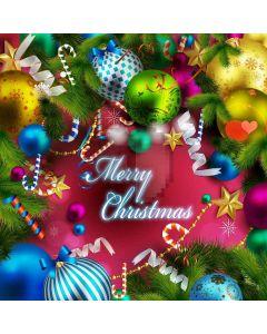 Happy Christmas Balls Computer Printed Photography Backdrop LMG-146
