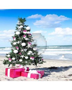 Seaside Christmas Tree Computer Printed Photography Backdrop LMG-184