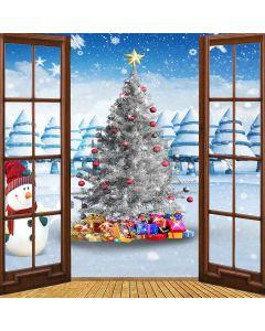 Christmas Tree With Snowman Computer Printed Photography Backdrop LMG-193