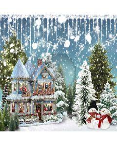 Snowy Christmas House Computer Printed Photography Backdrop LMG-206