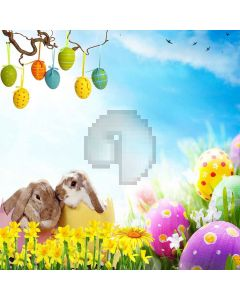 Cute Easter Egg With Rabbit Computer Printed Photography Backdrop LMG-281