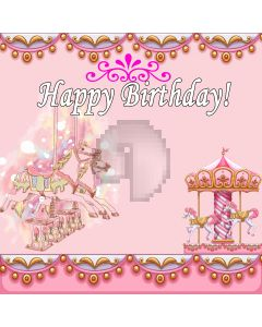 Happy Birthday Whirligig Horse Flower Pattern Computer Printed Photography Backdrop LMG-723