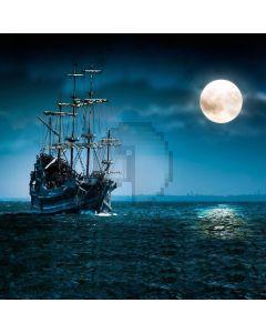 Night Moon Sea Sailboat Computer Printed Photography Backdrop LMG-724