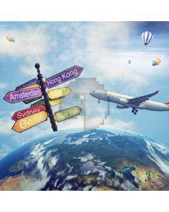 Travel Plane Balloon Earth Computer Printed Photography Backdrop MSL-409