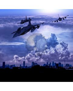 Plane Explosion Building Computer Printed Photography Backdrop MSL-417