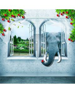 Naughty Elephants  Computer Printed Photography Backdrop S-156