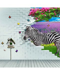 A Lovely Zebra  Computer Printed Photography Backdrop S-158
