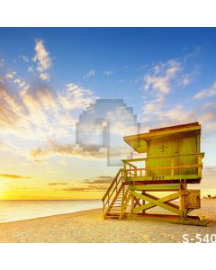 Seaside Cabin Computer Printed Photography Backdrop S-540