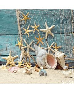 Starfish And Conch Computer Printed Photography Backdrop S-551