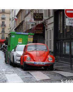 European Streetscape Computer Printed Photography Backdrop S-669