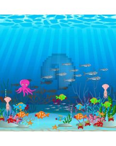 Fish Family  Computer Printed Photography Backdrop XLX-416