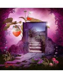 Romantic Door and Road Digital Printed Photography Backdrop YHA-141