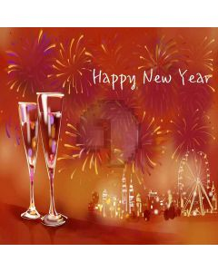 Happy New Year Digital Printed Photography Backdrop YHA-151